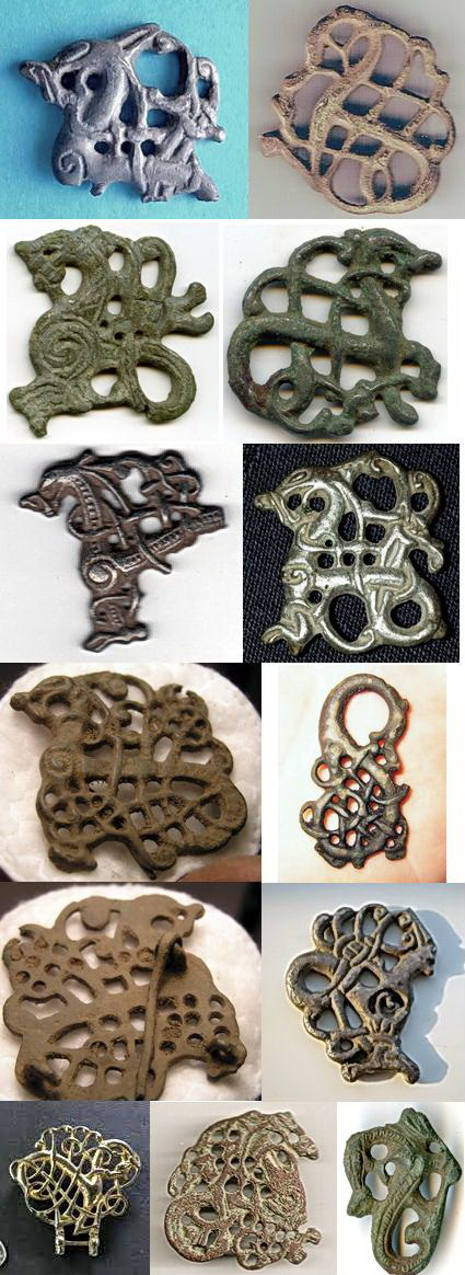 Wikinger Fibel Urnes Stil Drache Bronze Wikingerschmuck Groß Schalenfibel