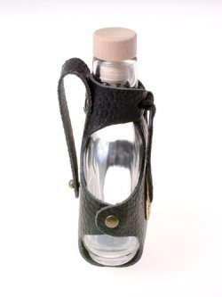 Glass hip flask - leather strap