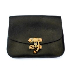 Belt wallet with hook clasp - black