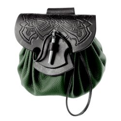 Celtic leather pouch bag - opened