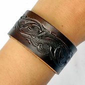 Leather Wristband in 3 cm - Arabesque
