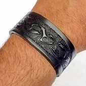 Leather Wristband in 3 cm - Tribal