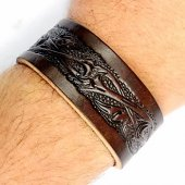 Leather Wristband in 3 cm - Floral