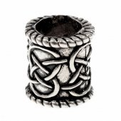 Celtic beard bead - silver plated