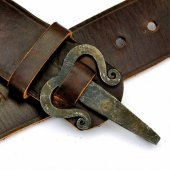 Historical leather belt with iron hook