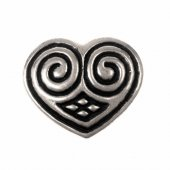 Heart shaped belt stud - silver plated