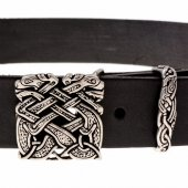Belt with silver colored buckle