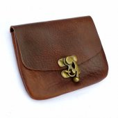 Belt wallet with hook clasp - brown