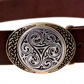Two-tone Celtic knot buckle belt