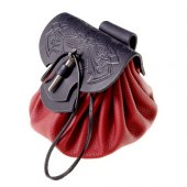 Celtic leather pouch bag - red