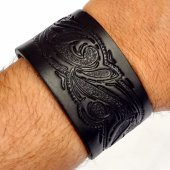 Leather Wristband in 4 cm - Arabesque