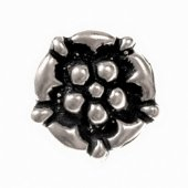 Rose shaped button - pewter