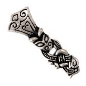 Viking strap end - silver plated