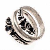 Viking finger ring - silver plated