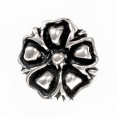 Flower button - pewter